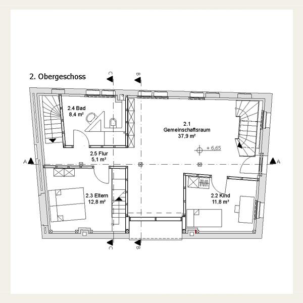046 umbau und sanierung eines speichers zu einem for Grundriss wohnhaus